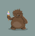 little bigfoot in cartoon style brown yeti vector image vector image