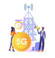 man and girl near 5g tower vector image