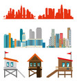 miami beach cityscape set scenes vector image vector image