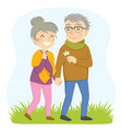 older couple on a walk vector image vector image