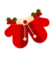 pair of christmas gloves icon vector image vector image