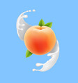 peach in milk splash realistic fruit in yogurt vector image vector image