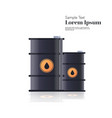 realistic black metal petroleum barrels oil vector image