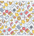 restaurant seamless pattern with thin line icons vector image