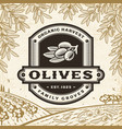retro olives label on harvest landscape vector image vector image