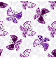Seamless floral pattern with violet butterflies vector image vector image
