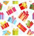 seamless pattern christmas gift boxes vector image