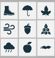 season icons set with rain fruit puddle and vector image vector image