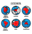 sketch drawing continents vector image
