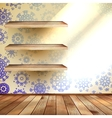 Snowflakes in blue room with a shelfs EPS 10 vector image vector image