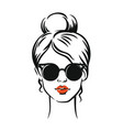 stylish girl in glasses vector image vector image