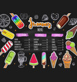 summer ice cream menu vector image vector image