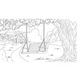 swing on a tree in forest vector image vector image