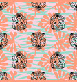 tiger heads and stripes seamless pattern vector image vector image