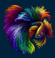 tropical fish abstract neon graphic portrait vector image vector image