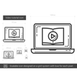 Video tutorial line icon vector image vector image