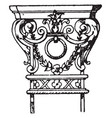 wrought-iron pilaster capital scroll vintage vector image vector image