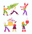 year holiday characters set vector image vector image