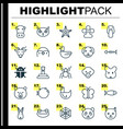 zoology icons set collection of night fowl diver vector image vector image