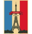 Eiffel Tower against the French flag vector image