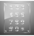 Set of transparent glass numbers vector image