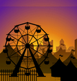 Ferris wheel and circus silhouette vector image