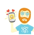 Geek with smartphone get some likes in social vector image