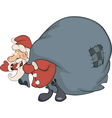 Santa Claus and a sack full of gifts vector image