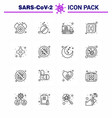 16 line coronavirus disease and prevention icon vector image vector image