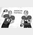 american football players with rugball vector image