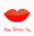 Big full thick red lips with gold glitter on white vector image vector image