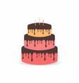 birthday cake with candles three tiers cake vector image