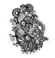 black line art ornate flower design vector image vector image