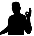 black silhouette of a man showing hand sign ok vector image vector image