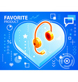 bright heart and head phone on blue backgrou vector image vector image