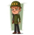 Cartoon brave soldier in green helmet vector image