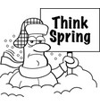 cartoon man buried in snow holding a think spring vector image vector image