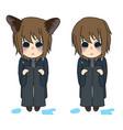 cat ears girl crying hug knees vector image