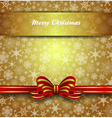Christmas Card Snowflake Gold Bow vector image vector image