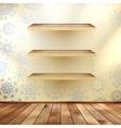 Christmas shelfs with wood floor EPS 10 vector image vector image