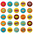 comic sound icons set flat style vector image vector image