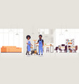 couple cleaners in uniform working together vector image vector image