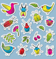 cute and funny bugs with birds and plants vector image vector image