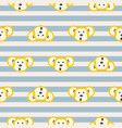 cute monkey head seamless striped pattern vector image vector image