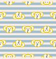 cute monkey head seamless striped pattern vector image
