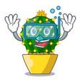 diving character mammillaria cactus at cactus farm vector image