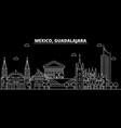 guadalajara silhouette skyline mexico vector image vector image