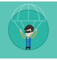 Happy man in vr headset flying with parachute vector image vector image