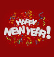 happy new year greeting card on red background vector image vector image