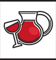 jug and glass with drink vector image vector image